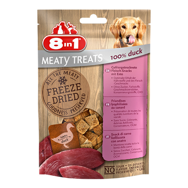 8IN1 FREEZE DRIED MEATY TREATS 100% ANATRA GR. 50